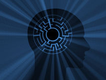Head with labyrinth. 3D image. Head with labyrinth and with light. 3D image Stock Photo