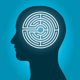 Head with a labyrinth man profile. Silhouette of a male head with a labyrinth inside conceptual of the complexity of the human brain Royalty Free Stock Photography