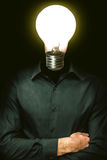 Head Instead lamp. Burnt lamp instead of a human head Stock Photography