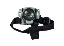 Head lamp. With elastic strap isolated on white background royalty free stock photo
