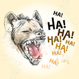 Head of laughing hyena on the textured beige background Royalty Free Stock Photo