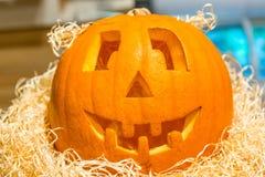 Head laughing pumpkin on Halloween holiday Royalty Free Stock Photos