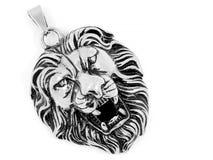 Head lejon - den djura konungen Jewelry - silverhängerostfritt stål Arkivbilder
