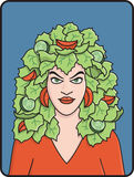 Head of Lettuce. Cartoon illustration of a pretty woman with salad for hair Stock Photo