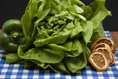 Head lettuce with lemon Stock Images