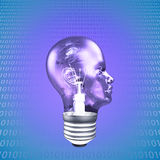 Head Light Bulb. With Binary Royalty Free Stock Images