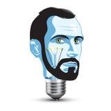 Head Light Bulb. Light Bulb with Head of Beard Man Royalty Free Stock Photos