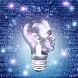 Head Light Bulb. With Binary Stock Photos