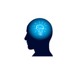 Head With Light Bulb In Brain, Brainstorm Thinking New Idea Concept Icon. Flat Vector Illustration Stock Photos