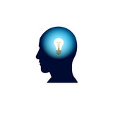 Head With Light Bulb In Brain, Brainstorm Thinking New Idea Concept Icon. Flat Vector Illustration Royalty Free Stock Photo