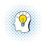 Head with light bulb icon, comics style. Head with light bulb icon in comics style on a white background Stock Photo