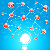 Head with a light bulb and Social Media networks i Stock Photo