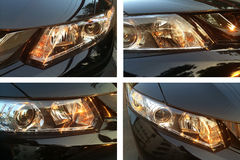 Head light car collage and detail, vibrant concept royalty free stock photography