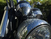 Head-light of motorcycle. With rain Royalty Free Stock Photos