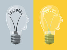 Head lightbulb Stock Photography