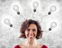 Head with lightbulbs Royalty Free Stock Photos