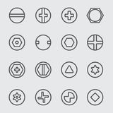 Head linje symbol för skruvar Arkivfoton