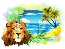 The head of a lion on a background of abstract watercolor stains. Royalty Free Stock Images