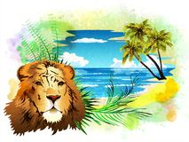The head of a lion on the background of the ocean and palm trees. stock photography