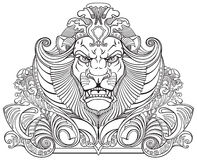 Head of lion black white Stock Photos