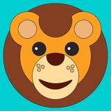 Head of a lion in cartoon flat style royalty free illustration