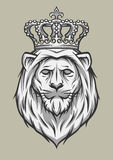 The head of a lion with a crown. Royalty Free Stock Photos