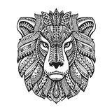 Head lion. Ethnic patterns. Hand drawn vector illustration with floral elements. Leo, animal symbol Stock Photos