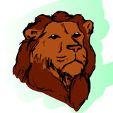 The head of a lion 1. Graphic image of a lion in color. The head of a lion, abstract pattern. Lion with mane vector Stock Image