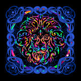 Head of a lion is a psychedelic painting Royalty Free Stock Image