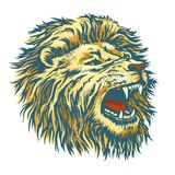 Head of the lion. The head of a roaring lion. Grin graze wild beast. Vector sketch vector illustration