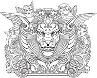 Head of lion surrounded by angels Stock Photo