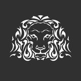 Head of lion in tattoo style - front Royalty Free Stock Photos