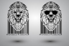 Head of lion from triangles, lines and dots with barcode Stock Images