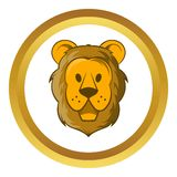Head of lion vector icon, cartoon style. Head of lion vector icon in golden circle, cartoon style isolated on white background Royalty Free Stock Photos