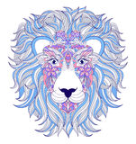 Head of lion on white background. Royalty Free Stock Photos