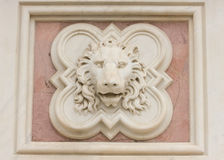 Head of the lion, marble artwork Royalty Free Stock Photo