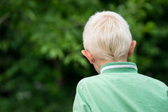 The head of the little blond boy Stock Images