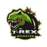 Head logo för dinosaurie, emblem T-rex monster vektor illustrationer