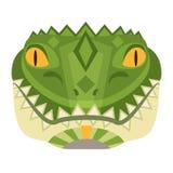 Head logo för krokodil Dekorativt emblem för alligatorvektor royaltyfri illustrationer