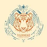 Head logo för tiger i ram vektor illustrationer