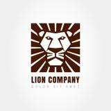 Head logomall för lejon, symbol av styrka, makt, vakt och se Royaltyfri Bild