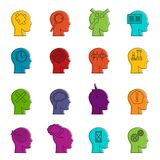 Head logos icons doodle set Royalty Free Stock Images
