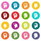 Head logos icons many colors set Stock Image