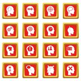 Head logos icons set red Royalty Free Stock Image