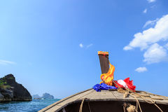 Head of longtail boat in the thailand sea. Photo of Head of longtail boat in the thailand sea Royalty Free Stock Photos