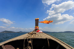 Head of longtail boat in the thailand sea Stock Photos