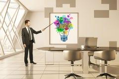 Head människa för lampa mot begreppsmässig bakgrund Arkivbilder