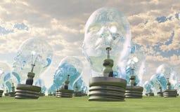 head mänskliga lightbulbs royaltyfri illustrationer