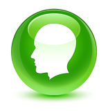 Head male face icon glassy green round button Royalty Free Stock Images