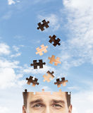 Head man built of puzzle Royalty Free Stock Photos